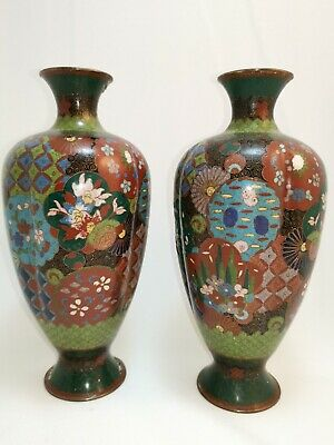 Pair Of Ribbed Antique Enamel Cloisonne Vases Chinese Japanese C19th Century