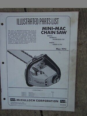 MCCULLOCH MODEL 55 Chainsaw Instruction Manual Plus Illustrated