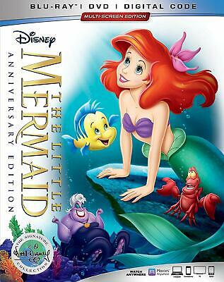 Disney The Little Mermaid (Blu-ray/DVD/Digital, Anniversary Edition) w/slip, NEW