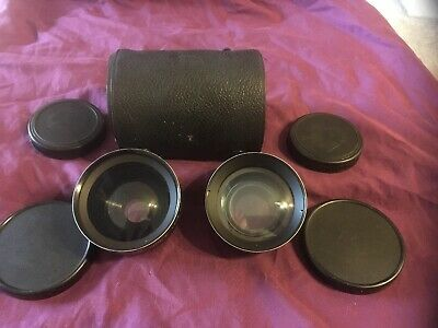 Vintage Koma Aux Camera Lens Set w/ Case Wide Angle/ Telephoto, Made in Japan