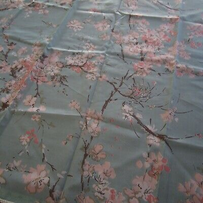 Vintage Dogwood Blossom Blue Pink 1950s Dacron Waverly Curtain Fabric 90cm x 116