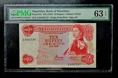 1967 MAURITIUS Bank  10 RUPEES P31c  Sig. 4 PMG Graded 63 Choice UNC