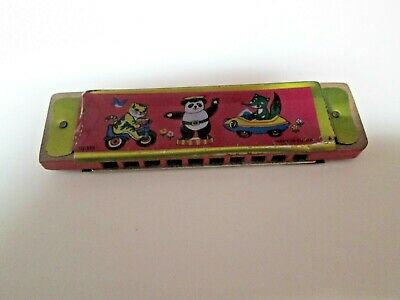 Vintage Made in China US519 Tin Litho Metal and Wood Toy Harmonica