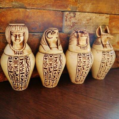 "Antique Set 4 Egyptian Ancient Canopic Jars Organs Funerary Statues LARGE (4.5"")"