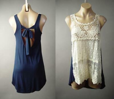 Ivory Crochet Doily Sheer Embroidered Lace Navy Blue Tank Top 297 mv Shirt S M L