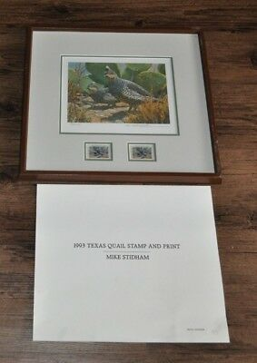 1993 Texas Quail Stamp & Print *Mike Stidham-Signed *Framed and Matted *889/2000