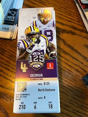 2018 Lsu Tigers Vs Georgia Bulldogs Football Ticket Stub 10/13