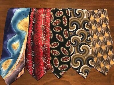 Lot of 5 Jerry Garcia & Grateful Dead Art to Wear Silk Ties Highly Collectible