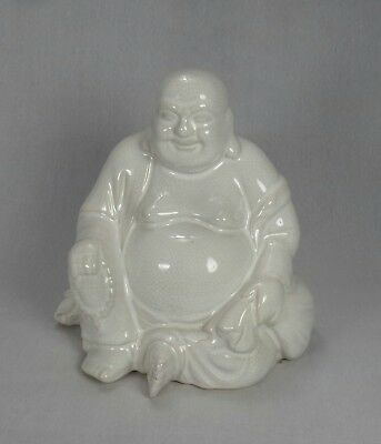 Large White Crackle Glaze Buddha Statue Good Luck Belly