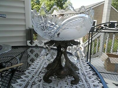 Antique crystal fruitbowl compote bronze stand prisms