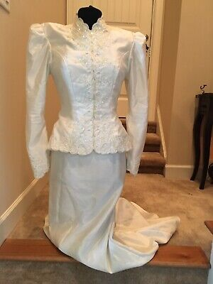 Vintage White Wedding Gown Two Piece With Train And Jacket With Shoulder Pads