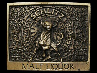 JI29132 VERY COOL VINTAGE 1970s ***SCHLITZ MALT LIQUOR*** BEER BELT BUCKLE