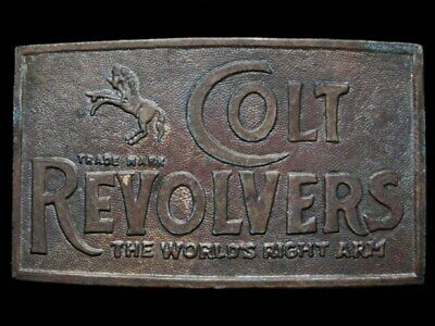 KD17127 COOL 1970s ***COLT REVOLVERS*** THE WORLDS RIGHT ARM GUN BELT BUCKLE
