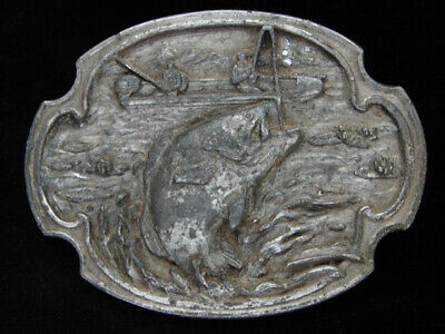Oh11105 Vintage 1984 **Large Mouth Bass** Fishing Pewter Siskiyou Belt Buckle
