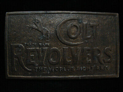 NI01119 VINTAGE 1970s **COLT REVOLVERS THE WORLDS RIGHT ARM** GUN BELT BUCKLE