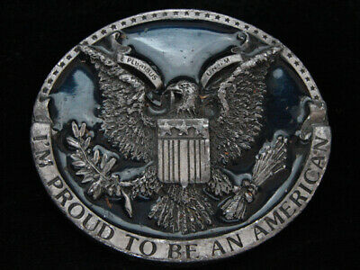 Ni03108 Vintage 1981 **I'm Proud To Be An American** Patriotic Pewter Buckle