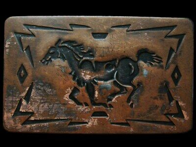 KC25117 VINTAGE 1970s CHAMBERS **GALLOPING HORSE** BRASSTONE BELT BUCKLE