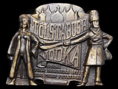 LH13153 VINTAGE 1970s **TOLSTABUSH VODKA** BURNS YOUR BABUSHKA OFF! BOOZE BUCKLE