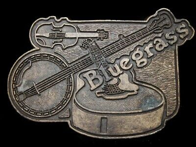LG11139 VINTAGE 1970s **BLUEGRASS** (FIDDLE, BANJO, & GUITAR) MUSIC BELT BUCKLE