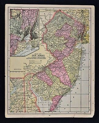1904 Crowell Map - New Jersey - Trenton New York City Princeton Philadelphia NJ