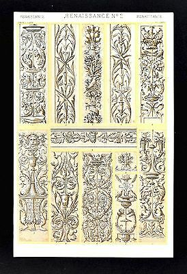 1868 Owen Jones Ornament Print Renaissance No 2 Reliefs in Florence Venice Genoa
