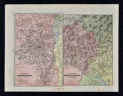 c 1890 Cram Map White Mountains & Adirondack Mountains New Hampshire White Face