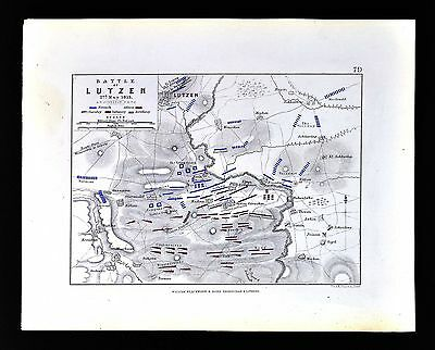 1855 Johnston Military Map - Napoleon - Battle of Lutzen 1813 - Germany France