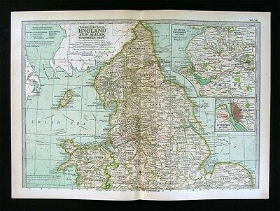 1902 Century Atlas Map - North England - Wales Liverpool Manchester Battlefields