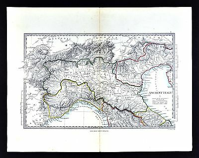 1866 SDUK Map - Ancient Italy North - Venetia Umbria Liguria Gallia Cisalpina
