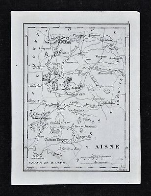 1833 Perrot Map - Aisne - Picardie Laon Soissons St. Quentin Vervins - France