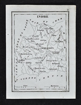 1833 Perrot Tardieu Map - Indre - Chateauroux Le Blanc Chatre Issoudun  - France