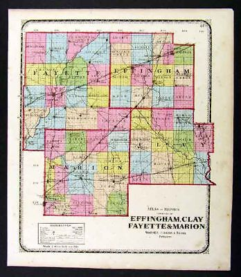1872 Beers Illinois Map - Effingham Clay Marion Fayette