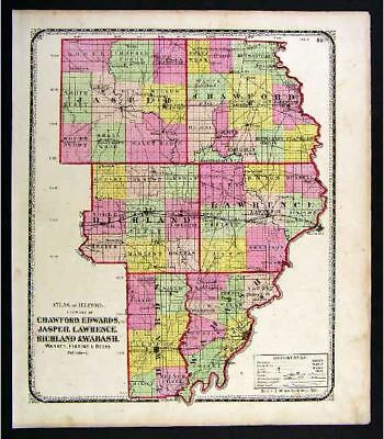 1872 Beers Illinois Map Crawford Wabash Lawrence Jasper