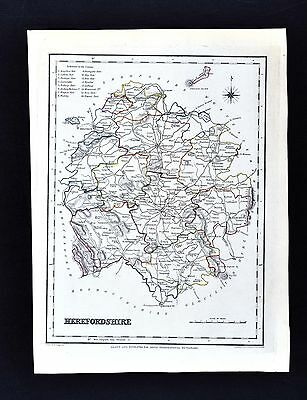1831 Lewis Map England - Herefordshire  Hereford Leominster Ross Tenbury Kington