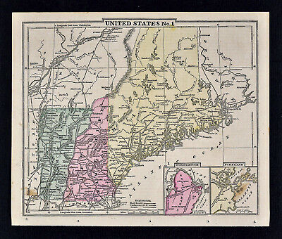 1863 Cornell Map Maine Vermont New Hampshire Portland Portsmouth White Mountains