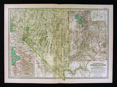 1902 Century Atlas Map - Nevada Utah - Salt Lake City Las Vegas Ogden Lake Tahoe
