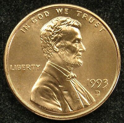 1993 D Uncirculated Lincoln Memorial Cent Penny BU (B04)