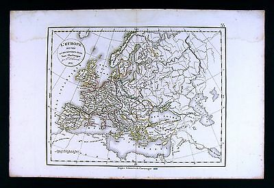 1832 Antique Map by Delamarche - Charlemagne Europe France Germany Italy Austria