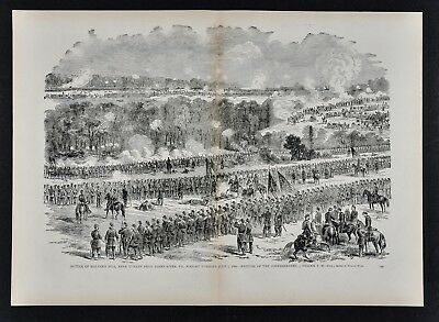 Leslie Civil War Print - Battle of Malvern Hill near Turkey Bend - Virginia