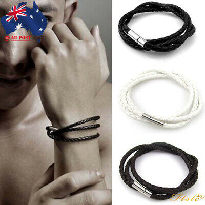 Mens Leather Wristband Bracelet Charm Fashion Necklace Jewellery Rope Handmade
