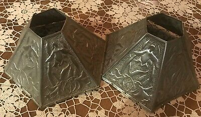 Victorian Antique Pair Punched metal tin candle shades arts & crafts style kits