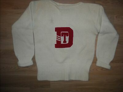 Vtg 40S 50S Highland White Wool Letterman Stadium Pullover Sweater