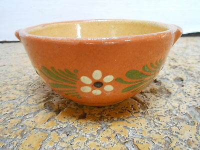 French Vintage country terra cotta Pottery  FLORAL BOWL