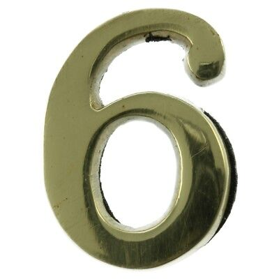 Small 32 mm Solid Brass Number 6 Self Adhesive