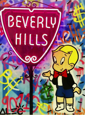 Alec Monopoly oil Painting on Canvas graffiti art Richie Rich Umbrella 28x36""