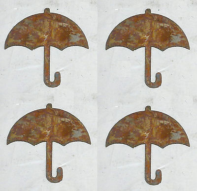 """Lot of 4 Umbrella Shapes 3"""" Rusty Metal Vintage Craft Sign Ornament Made in USA"""