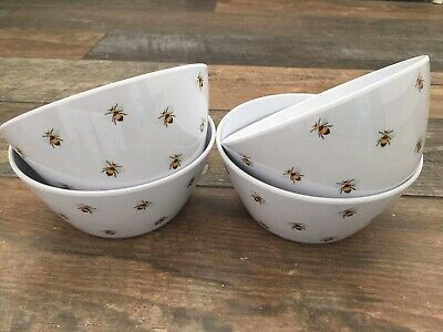 Botanical Discovery 4 White & Bee Melamine Picnic Cereal Bowls Camping Caravan