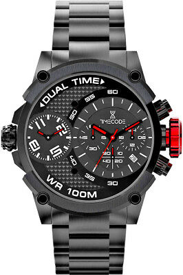 Clearance Sale Timecode Tc-1003-03 Dual Time Chronograph Sapphire Crystal Boxed