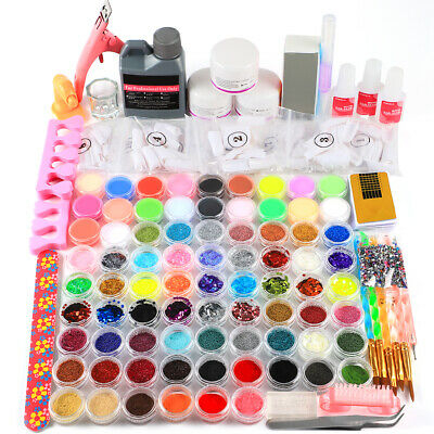 Complete Acrylic Nail Gel Kit Acrylic Liquid & Powder Nail Tips Tools DIY Set