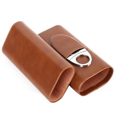 Brown Leather Travel Cigar Case Holder Cedar Wood Lined Cigar Humidor 3 Count
